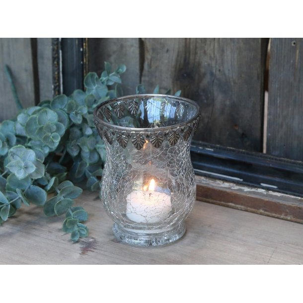 Fyrfadsstage krakeleret m. sølv dekor